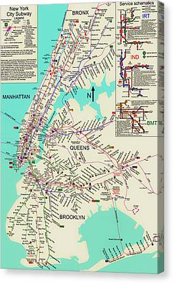 Nyc Subway Map Canvas Print by Mountain Dreams