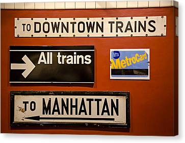 Nyc Subway Signs Canvas Print by Susan Candelario