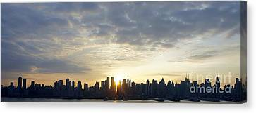 Nyc Sunrise Panorama Canvas Print