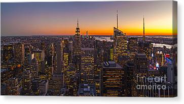 Staten Island Canvas Print - Nyc Top Of The Rock Sunset by Mike Reid