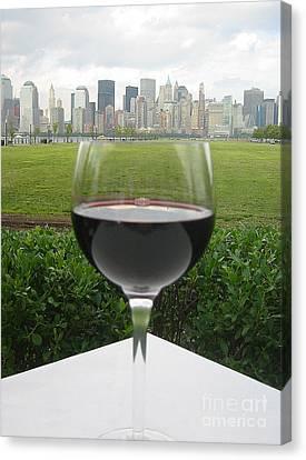 Nyc Wine Glass Canvas Print by Judee Stalmack