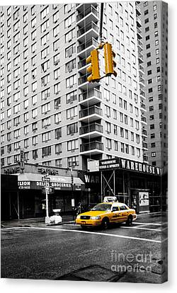 Nyc  Yellow Cab At The Crossroad Canvas Print by Hannes Cmarits