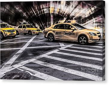 Nyc Yellow Cab On 5th Street - White Canvas Print by Hannes Cmarits