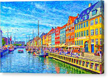 Water Vessels Canvas Print - Nyhavn In Denmark Painting by Antony McAulay