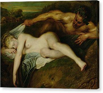 Nymph And Satyr Canvas Print by Jean Antoine Watteau