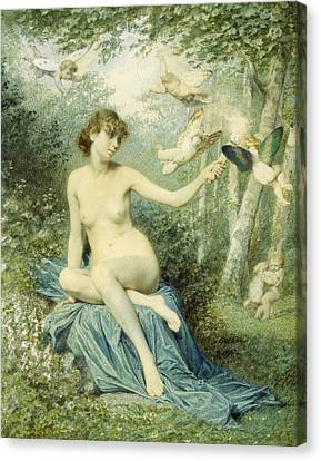 Nymph Driving Love Away With A Torch Canvas Print by Victor Florence Pollet
