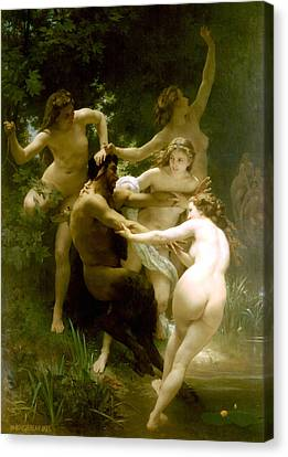 Nymphs And Satyr Canvas Print by William Bouguereau