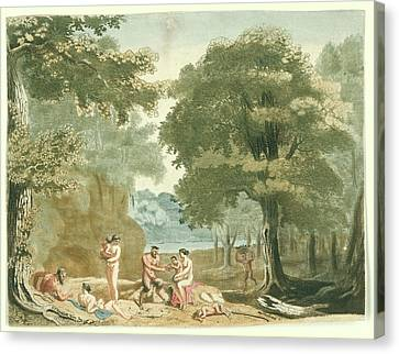 Nymphs And Satyrs In A Landscape, Martinus Berkenboom Canvas Print
