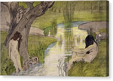 Sensual Canvas Print - Nymphs Bathing by French School