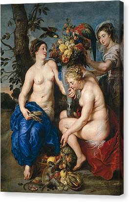 Nymphs With Cornucopia Canvas Print by Frans Snyders