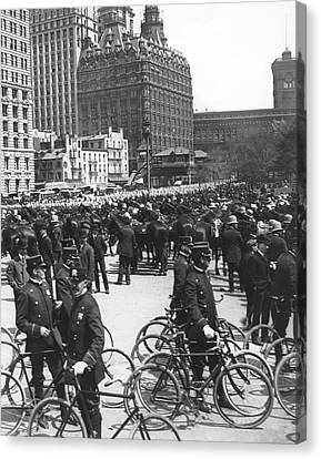 Nypd Bicycle Force Canvas Print by Underwood Archives