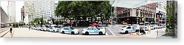 Nypd Cop Cars In Front Of Lincoln Center Canvas Print
