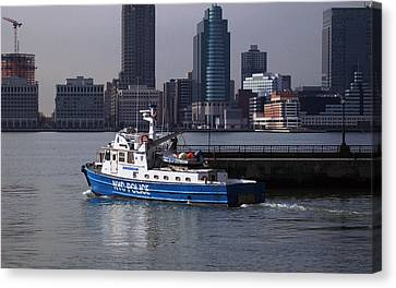 Ny Police Department Canvas Print - Nypd Patrol Boat by Richard Booth