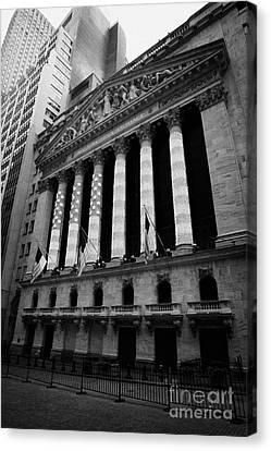 Nyse New York Stock Exhange In Lights Of American Flag Wall Street Canvas Print by Joe Fox