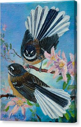 Nz Fantails On Clematis Canvas Print by Peter Jean Caley