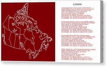 O Canada Lyrics And Map Canvas Print