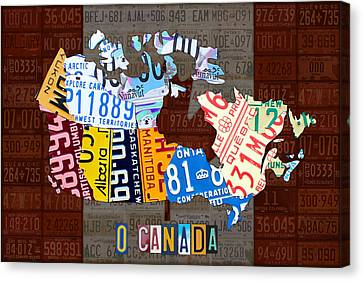 O Canada Recycled License Plate Map Of Canada National Anthem On Canadian Flag Art Canvas Print by Design Turnpike