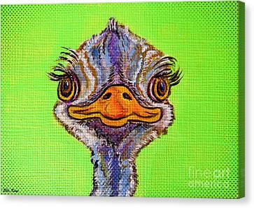 Ostrich Canvas Print - O For Ostrich by Ella Kaye Dickey