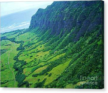 Oahu Jurassic Park Cliffs Canvas Print by Brigitte Emme