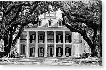 Canvas Print featuring the photograph Oak Alley Mansion Black And White by Photography  By Sai