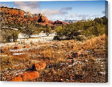 Oak Creek Canyon - Sunrise Canvas Print by Bob and Nadine Johnston