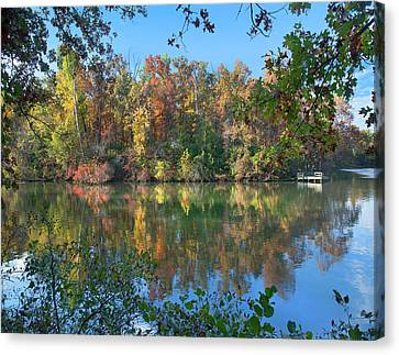 Fayetteville Canvas Print - Oak-hickory Forest At Lake by Tim Fitzharris