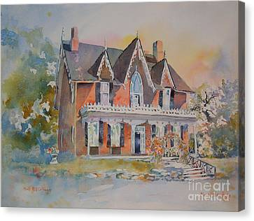 Canvas Print featuring the painting Oak Hill Cottage by Mary Haley-Rocks