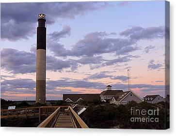 Oak Island Lighthouse From Caswell Canvas Print by Shelia Kempf