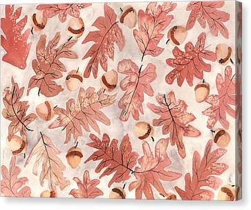 Oak Leaves And Acorns Canvas Print by Neela Pushparaj