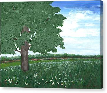 Canvas Print featuring the painting Oak Tree In Summer Meadow by Penny Hunt