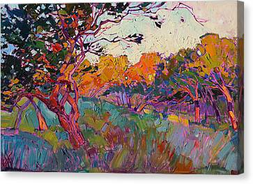 Canvas Print featuring the painting Oaken Light by Erin Hanson