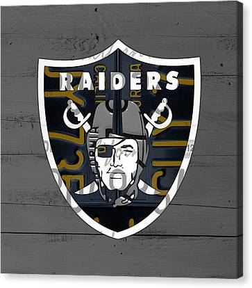 Oakland Raiders Football Team Retro Logo California License Plate Art Canvas Print by Design Turnpike