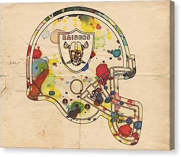 Oakland Raiders Helmet Art Canvas Print by Florian Rodarte