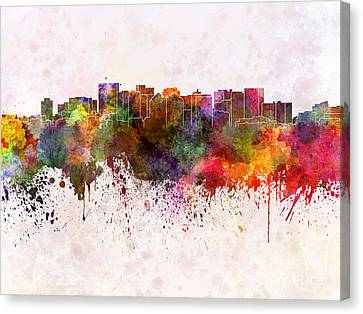 Oakland Skyline In Watercolor Background Canvas Print by Pablo Romero