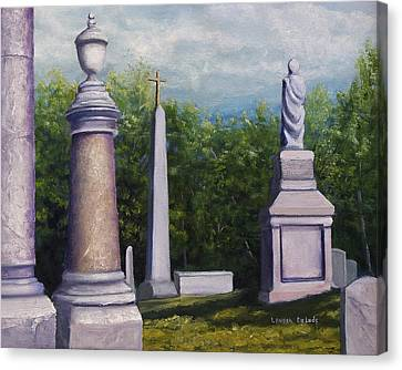 Canvas Print featuring the painting Oakwood Cemetery Jefferson Texas by Lenora  De Lude