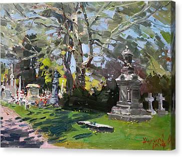 Tomb Canvas Print - Oakwood Cemetery by Ylli Haruni