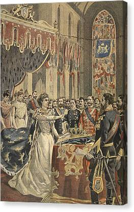 Oath Of Constitution Of Queen Wilhemina Canvas Print by French School