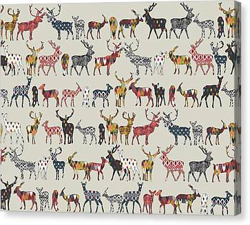 Pattern Canvas Print - Oatmeal Spice Deer by Sharon Turner