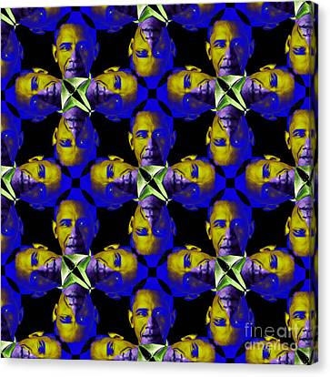 Obama Abstract 20130202m118 Canvas Print by Wingsdomain Art and Photography