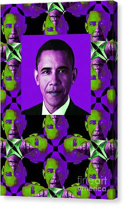 Obama Abstract Window 20130202verticalm88 Canvas Print by Wingsdomain Art and Photography