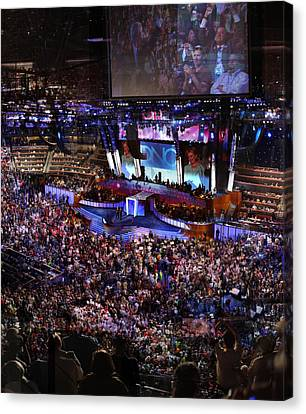 Obama And Biden At 2008 Convention Canvas Print by Stephen Farley