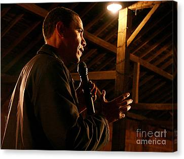 Obama Campaigning In 2007 At The Amanas Canvas Print by Joan Liffring-Zug Bourret