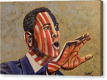 Obama...a State Of Mind Canvas Print by James  Lalepop Becker
