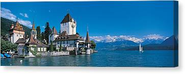 Oberhofen Castle W\ Thuner Lake Canvas Print by Panoramic Images