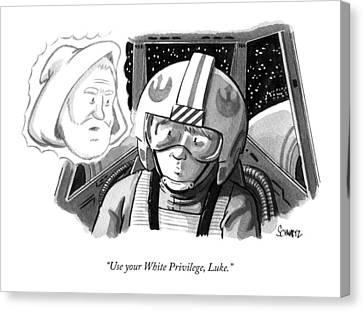 Obi Wan Kenobi Talks To Luke Skywalker Canvas Print by Benjamin Schwartz