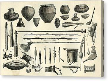 Objects Of The Chontaquiros Indians 1869 Peru Canvas Print by Peru School