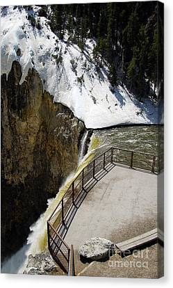 Grand Canyon Canvas Print - Observation Platform Over Brink Of Lower Falls In Yellowstone National Park by Shawn O'Brien