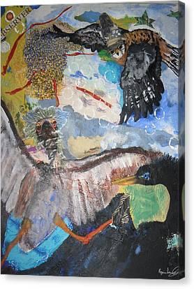 Observing  Birdies Canvas Print by Rozenia Cunningham