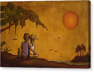 Tropical Sunset Canvas Print - Obvious Romance by Bryan Ubaghs