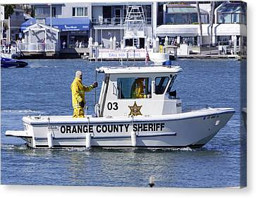 Oc Sheriff Ready For The Fire Canvas Print by Shoal Hollingsworth